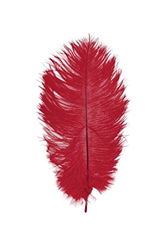 Chaks 0718–02, Tüte mit 2Federn Straussenleder 30–35cm, rot (Straußenleder Rote)