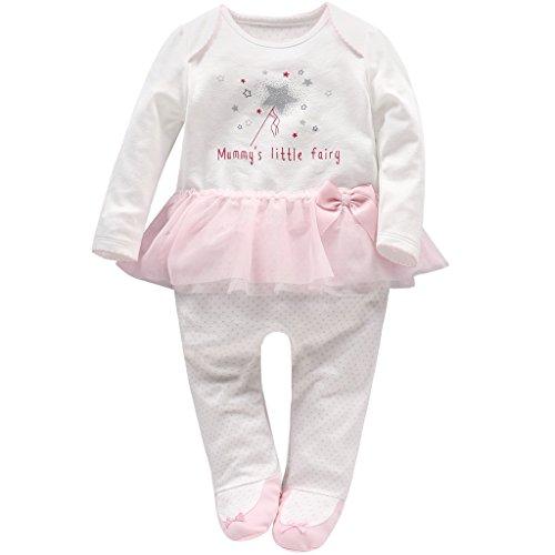 Neugeborene Mädchen Tütü Strampler Spielanzug Baby Langarm Footed Overalls Säugling Schlafanzug, 0-3 Monate