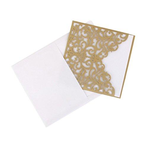 Preisvergleich Produktbild ROSENICE 10Pcs Hochzeit Einladungskarten - aushöhlen dekoratives Muster (Golden)