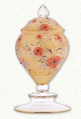 Gold with Rose Flower Pattern Egyptian Glass Candy Dish Home Decoration Egypt Holiday Candy Dish