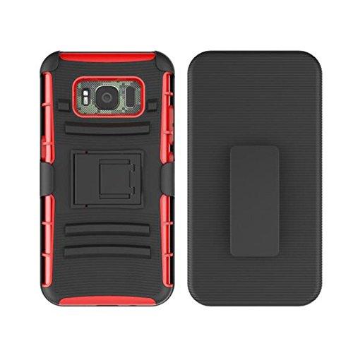 Samsung Galaxy S8 Active caso, AVIDET Shock Absorción y Anti-Scratch PC + TPU Volver caso cubrir para Samsung Galaxy S8 Active (Rojo)