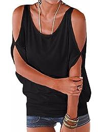 QIYUN.Z Les Femmes De Couleur Unie Épaule Froide Manches Chauve-Souris Occasionnels Dos Tops Shirt À Lacets
