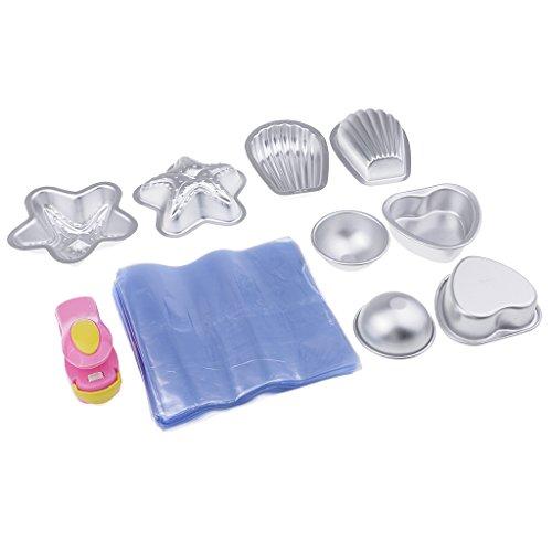 MagiDeal 4 Set Moule en Aluminium avec Sac d'emballage et Mini Machine à Capper pour Savon de Bain DIY Fabrication de Savon/Pâte à Sucre/Pâtisserie / Décoration de Fondant