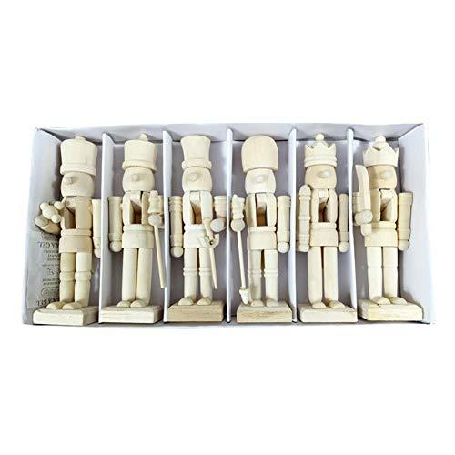 Y Weißer Embryo-Walnuss-Soldat Geformt Nutcracker mit Farbe und Stift - DIY Sie besitzen Nussknacker - Figuren Figuren Puppen Geschenk Spielzeug Weihnachtsschmuck, 1 er 6 Stück ()
