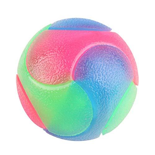 Ritapreaty Hundespielzeug, bunt, leuchtender, elastischer Ball, langlebig, blinkend, Molar, interaktives Kauspielzeug für Katzen, Hunde, Trainingsball (2 Stück) -