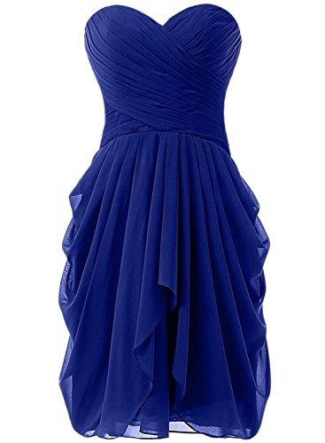 Azbro Women's Summer Wrap Ruffled Asymmetric Chiffon Dress Royal Blue