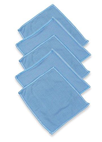 RESPEKT Mikrofaser Glaspoliertuch (ca. 15x15cm) Gläserpoliertuch Fenstertuch Ultra Sonnenschein - Tuch hochglänzende und für Hochglanzoberflächen blau - Ware :: 5er - Set