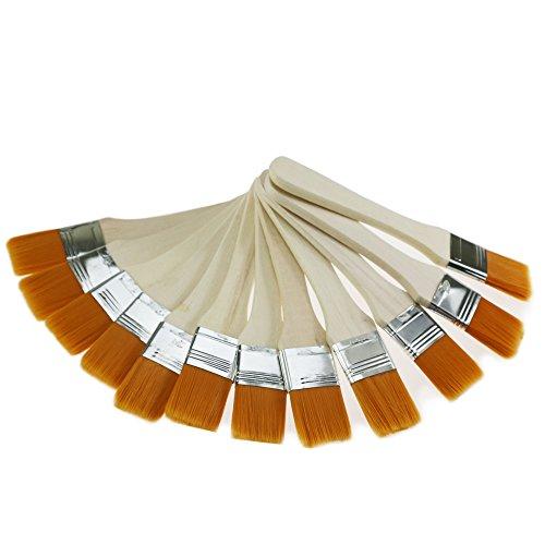 Pinsel 12Stück Premium 21Tuschkasten, Pinsel, Professional Wand Pinsel Set, Home, Pinsel, mit SRT Pet Borsten und Natural Birch Griffe, 1inch 12pcs (Leichte Zinn Ausführung)