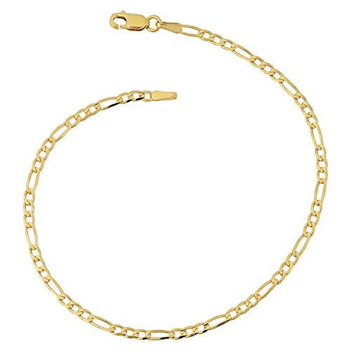 Armband 14 Karat 585 Gold Italienisch Figaro Gelbgold Armkette Breite 3 mm (22) - 14k Gold Armband Herren Gelb