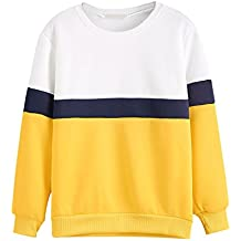 Bonjouree Pull Femme Chic Sweatshirt Blanc Top Cou Rond Manches Longues