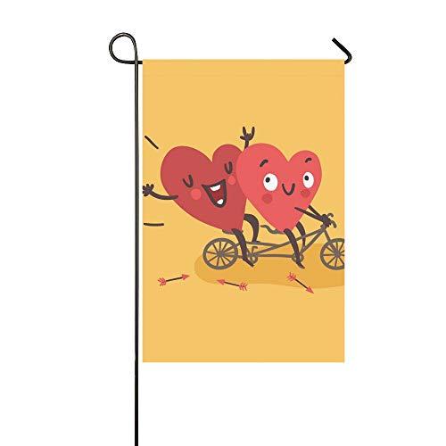 JOCHUAN Home Dekorative Outdoor Double Sided Paar Liebe Zwei glückliche Herzen Radfahren Garten Flagge, Haus Yard Flagge, Garten Yard Dekorationen, saisonale Willkommen Outdoor Flagge - Radfahren Herz