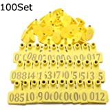 Generic 100Sets Yellow Animals Cattle Goat Pig Sheep Use Ear Number Tag Livestock Tags Labels