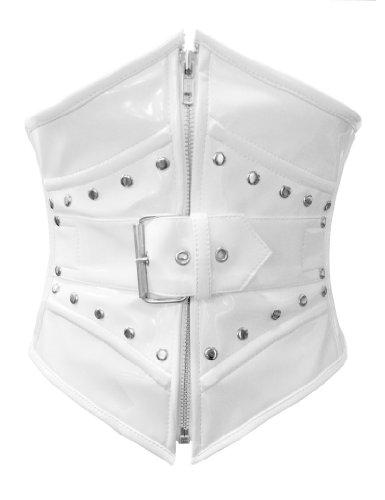 Nero, Rosso, Viola o bianco PVC Acciaio Boned posteriore con fibbia cintura corsetto Bustino Waspie White XX-Large