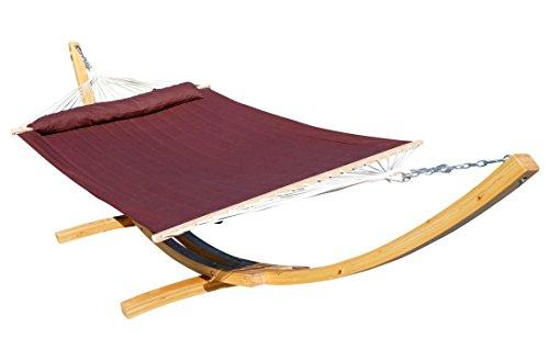 410cm XXL cadre hamac ÉDITION NATURELLE COMPLÈTE BROWN mélèze en bois avec tige hamac (rembourrés) et coussins de AS-S