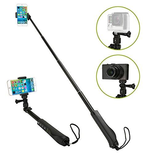 Selfie Stange, iKross Universal Ausziehbare Selfie Stick mit Eingebautem Drahtlosen Bluetooth Fernauslöser und Halterung für SmartPhone GoPro - Schwarz