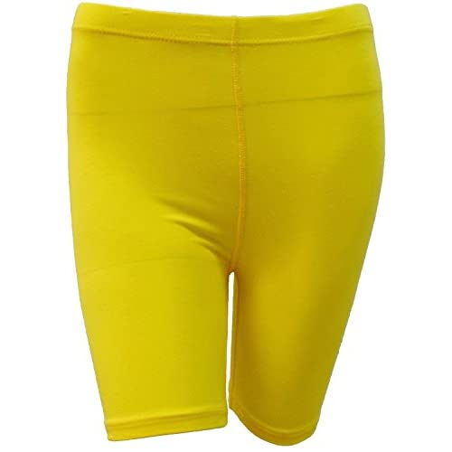 elegance1234 Ladies Stretchy Cotton Lycra Above Knee Shorts Active Leggings (Yellow-Small UK 8/10 (36)