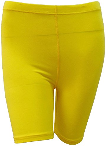 41z8zB%2Bx3cL - elegance1234 Ladies Stretchy Cotton Lycra Above Knee Shorts Active Leggings (Yellow-Small UK 8/10 (36)