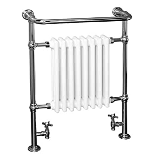 Traditional Victorian Heated Towel Rail Radiator 940 x 659mm - Chrome