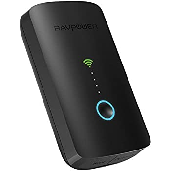RAVPower FileHub Plus,Wireless Travel Router, SD Card Reader USB Portable Hard Drive Companion, DLNA NAS Sharing Media Streamer 6000mAh External Battery Pack