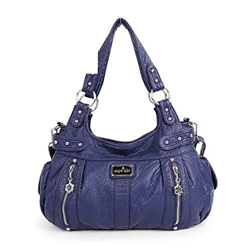 Frauen beiläufige weiche Umhängetaschen PU Leder Einkaufstaschen Vintage Umhängetasche Blue -