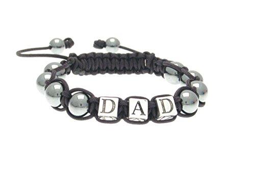 Made in Britain DAD Hematite Healing Gemstone Shamballa Friendship Bracelet Fathers day gift