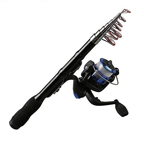 REFURBISHHOUSE Mini Portable Teleskop Angelrute Spinning Carbon Fisch Hand Angelgeraet Sea Rod Ocean Rod Angelrute 1.0M