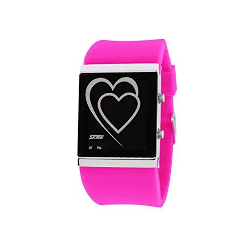 2015schwarz Freitag Deals Woche. zonman® auf Verkauf. in Herzform LED Fashion Creative Wasserdicht Paar Student Uhren Damen, Streifendesign