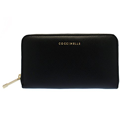 COCCINELLE Pelle Vitello Saffiano Zip Around Wallet Nero