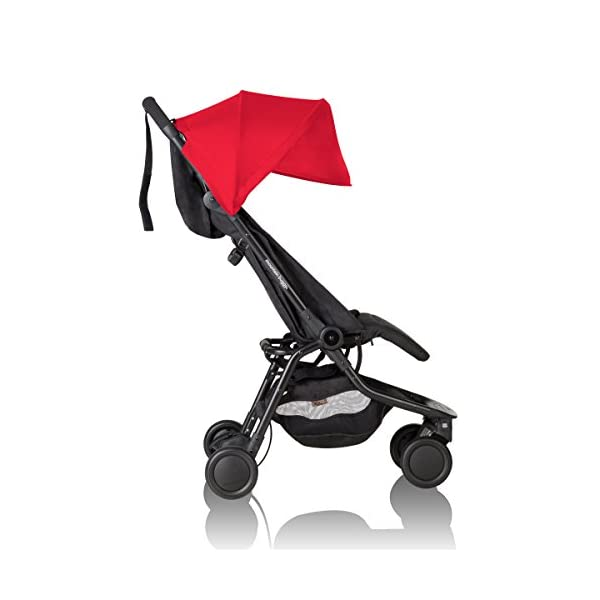 """Mountain Buggy Nano V2-5, Ruby Red Mountain Buggy Infant car seat ready, no need to purchase additional adapters and now has a soft shell cocoon carrycot available (sold separately) for new-borns New, narrower compact size at just 12"""" x 22"""" x 20"""" (folded) with 44 lb. weight capacity and suitable for children up to 4 years Easy two-step, compact fold 11"""