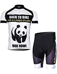 FREEFISHER velo cyclisme sport PANDA maillot manches courtes + Cuissard shorts Homme