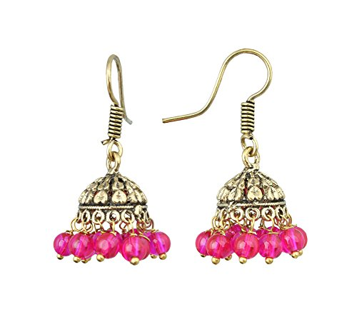 Waama Jewels Gold Plated Brass Jhumka/Jhumki Casting Earring For Women And Young Girls Party Birthday College Office Wear With Pearl Color (Pink)  available at amazon for Rs.89