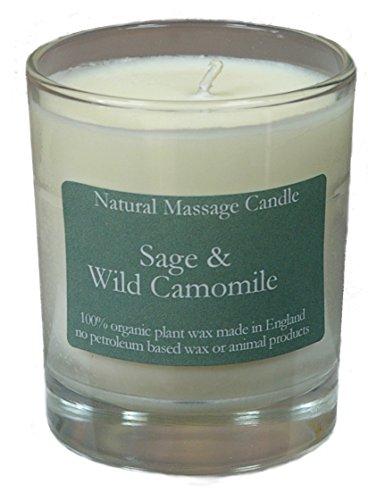 Massage Kerze SAGE & WILD CAMOMILE (Salbei & Wilde Camomile), hergestellt aus 100% Pflanzenwachs im recyceltem Glas - Wilden Salbei