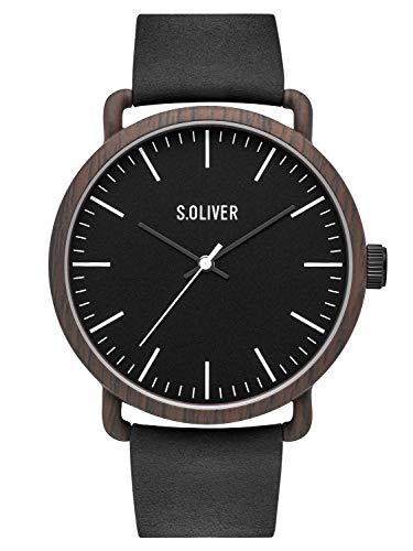 s.Oliver Herren Analog Quarz Uhr mit Leder Armband SO-3752-LQ (Uhr Mit Lederarmband)