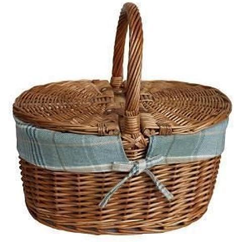 Luz al vapor oval con tapa Crema del tartán de la guarnición cesta de picnic