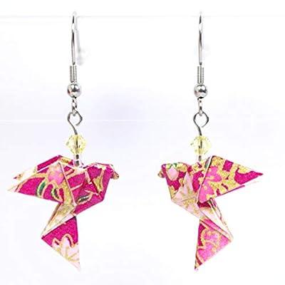 Boucles d'oreilles colombes origami verticales roses et dorées - crochets inox