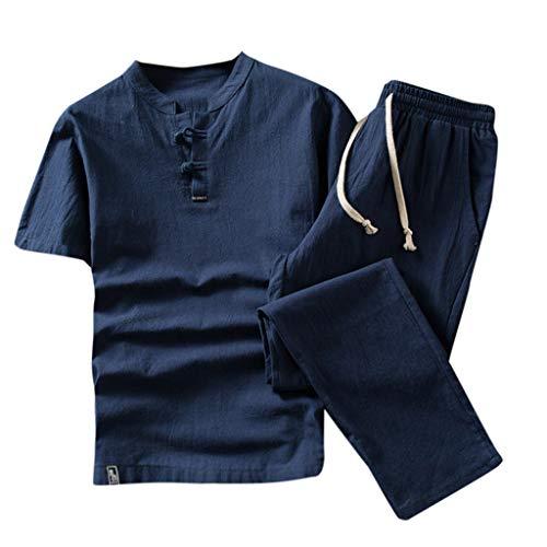 CICIYONER Leinenhemd + Leinenhose Herren Sommer Mode einfarbig Baumwolle und Leinen Kurzarm Hose Set Anzug Trainingsanzug (M, Blau) -