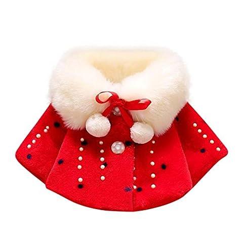 Manteau Doux Chaud en Coton Hiver ,Moonuy Manteau de manteau de fourrure de lapin chaud de filles de chéri Veste chaude épaisse de couleur unie Jacket soie vêtements ruban Tops (0-1T, Rouge)