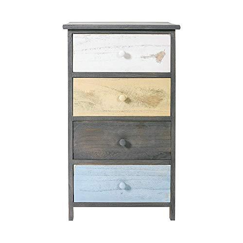 Rebecca mobili cassettiera vintage, comodino 4 cassetti, legno di paulownia, bianco beige azzurro, per camera e bagno - misure: 72 x40 x 29 cm (hxlxp) - art. re4884