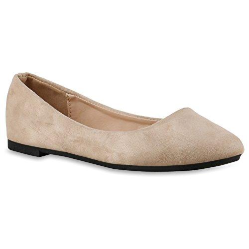 Klassische Damen Ballerinas Lederoptik Slipper Flats Schuhe Creme
