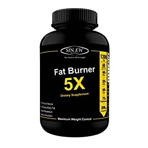 Sinew Nutrition Natural Fat Burner 5X (Green Tea, L-Carnitine, CLA, Green Coffee & Garcinia Cambogia Extract) - 1200 mg (60 Count)