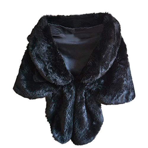 Outwear Wintermantel Frauen Mode Elegant Braut Hochzeit Faux Pelz Lange Schal Stola Wrap Shrug Lose Coat Strickjacken (Farbe : Schwarz, Größe : EU-38/CN-M) ()