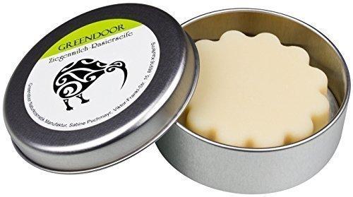 Rasieren Milch (Greendoor Rasierseife Ziegenmilch, 80g in Metalldose, extra cremiger, beständiger Schaum für eine optimale Rasur, Naturkosmetik, mit Bio Sheabutter und Bio Kakaobutter für mehr Pflege, Geschenk Geschenke Geburtstagsgeschenk)