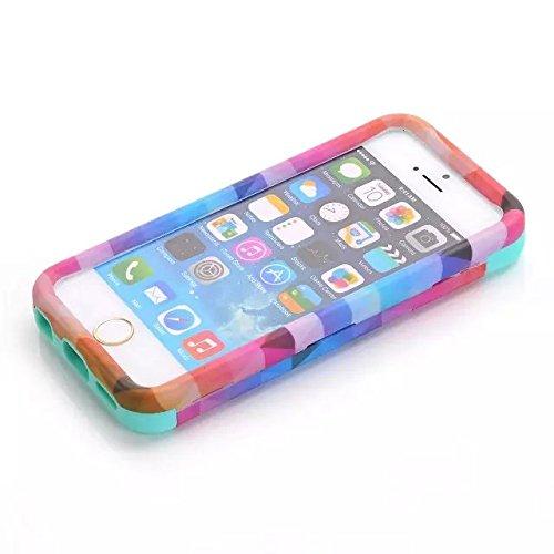 [iPhone 5C-Telefon-Kasten] Lantier Rhombus 3in1 Heavy Duty Gemälde Entwurf Slim Fit Hybrid TUFF Folgenshockproof-Fall-harter Silikon-Gel Cover für iPhone Tribal 5C mit Schirm-Schutz-und-Stift-Pink Rhombus White