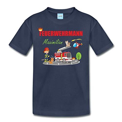 T-Shirt mit eigenem Namen für Babys Kleinkinder Kinder Kindergarten Schulkind Kindershirt Sommershirt Feuerwehr Feuerwehrmann (106-116)