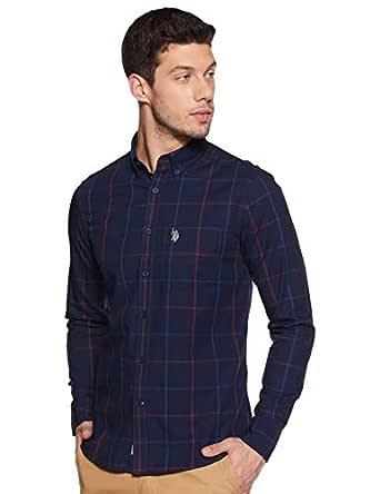 US Polo Association Men's Checkered Regular fit Casual Shirt (USSH5876_Navy S)