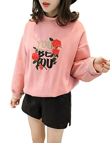 Lettres broderie Fashion-pulls de femmes pink
