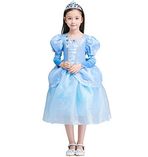 Das beste Aschenputtel Kostüm Kinder Glanz Kleid Mädchen Weihnachten Rollenspiele Verkleidung Karneval Party Halloween (Paisley Kostüme Mädchen)