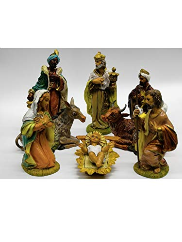 Euromarchi novidea natività completa per presepe 8 pezzi resina 20 cm statuette sacra famiglia