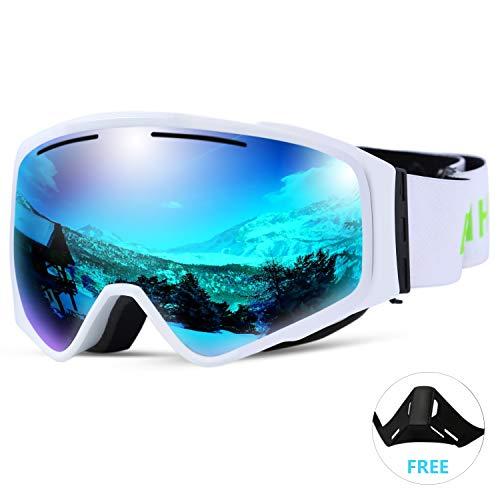 SunTime Ski Brille Ende Doppelschicht Anti-Fog Skibrille Outdoor Skibrille Zylindrische Linse abnehmbare Magnet Unsex (Blau)