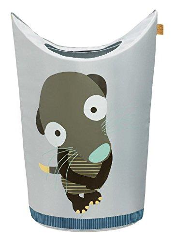 LÄSSIG Kinder Wäschekorb Spielkorb Aufbewahrungskorb Kinderzimmer Organizer Spielzeugkorb/Laundry Bag Wildlife Erdmännchen, grün